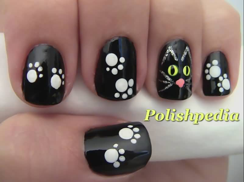 Black Glossy Nails Cat Face And Paws Design Halloween Nail Art