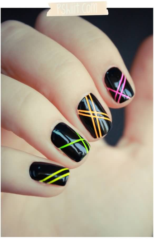 Black Glossy Nails With Neon Stripes Design Nail Art