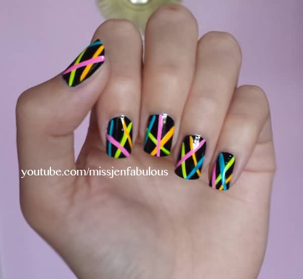 Black Glossy Nails With Neon Stripes Nail Art Design