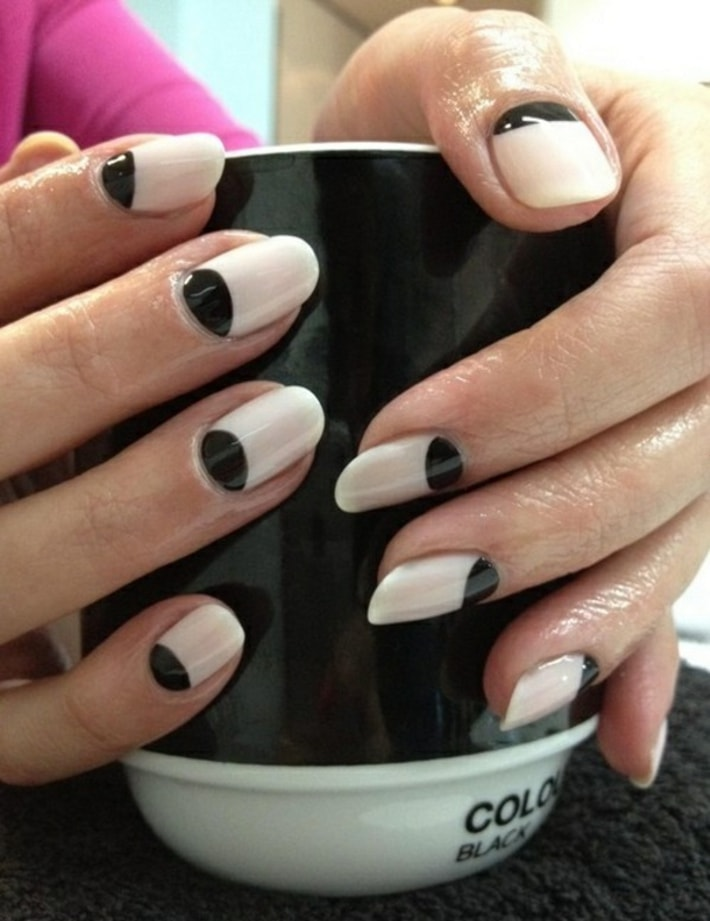 Black Half Moon Reverse French Tip Nail Art