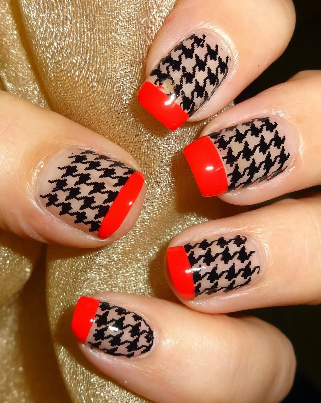 46 latest houndstooth nail art design ideas black houndstooth nail art on nude nails with red tip nail design prinsesfo Images