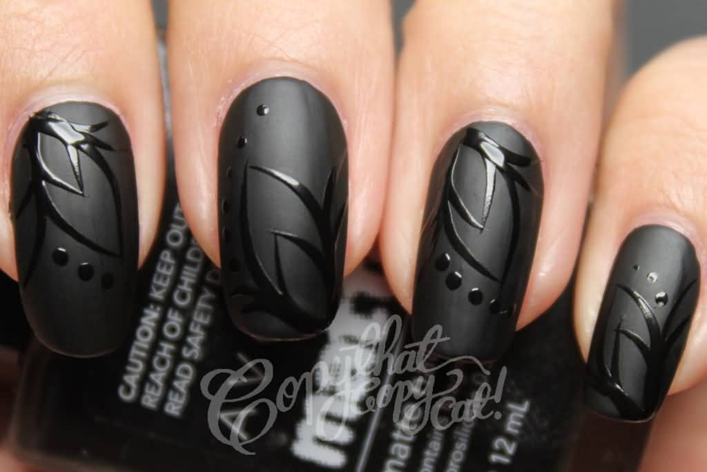 Black Matte Nail Art With Glossy Flower Design - 45+ Beautiful Black Matte Nail Art Designs