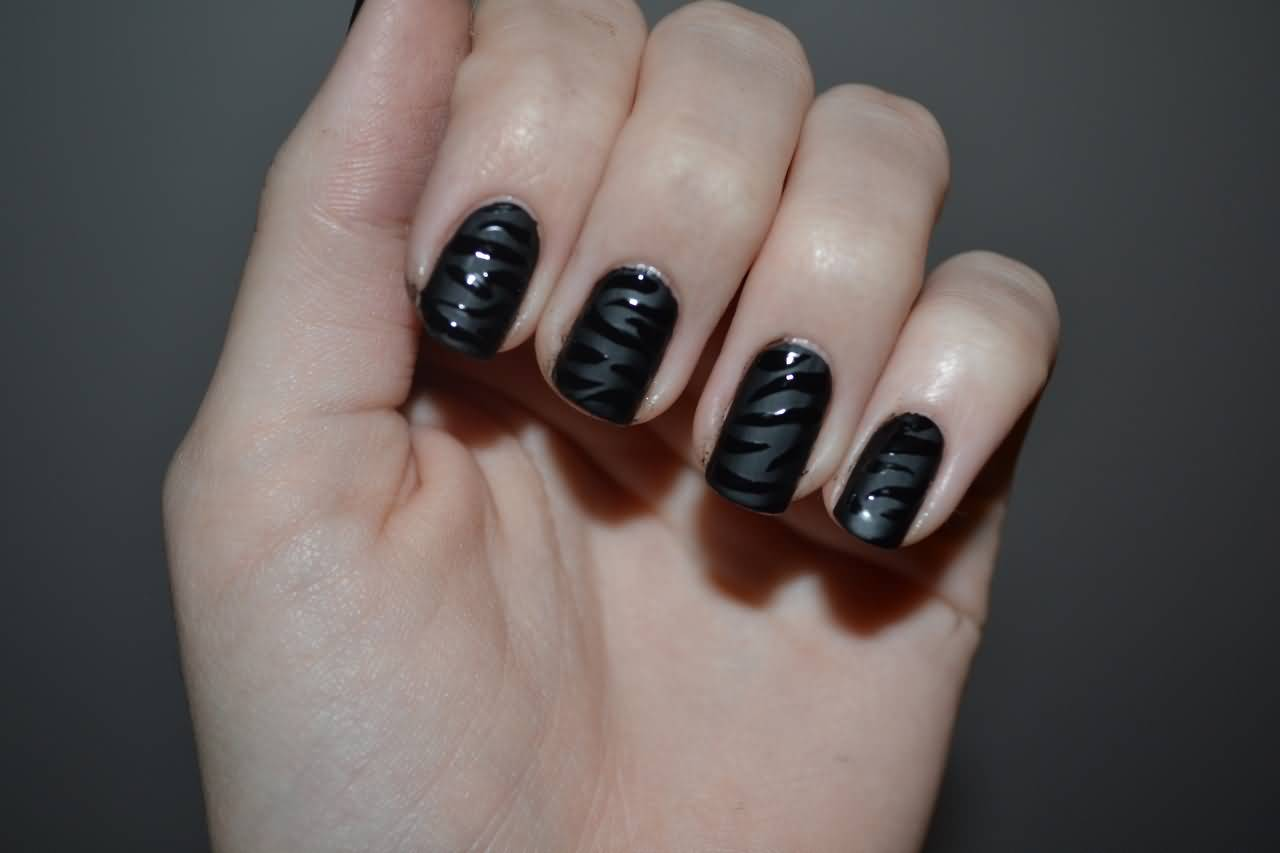 Black matte nail designs images for Decoration ongle