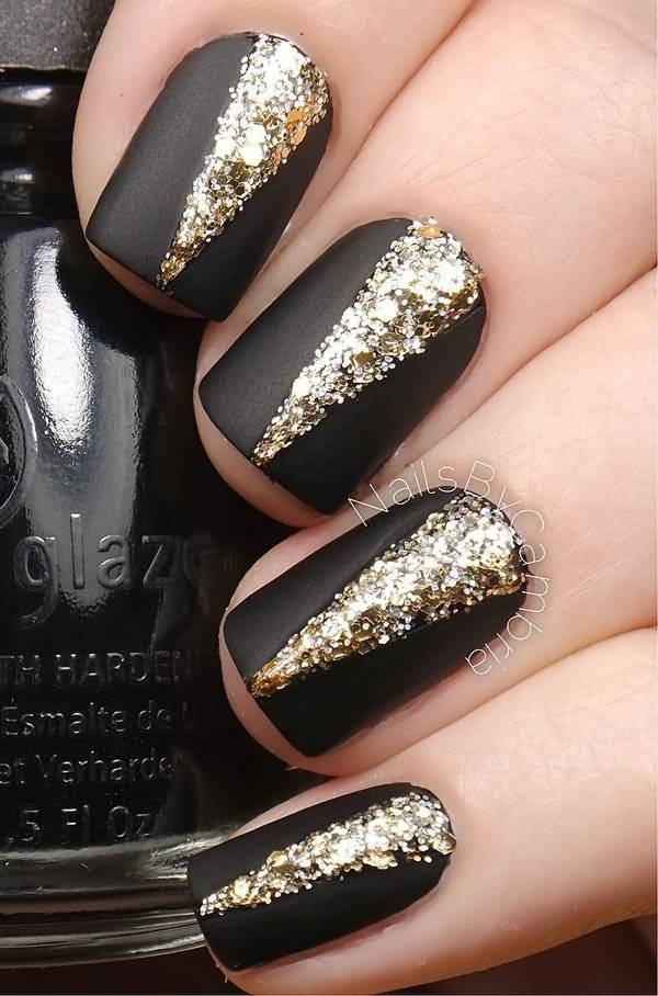Black Matte Nails With Gold Glitter Nail Art Design