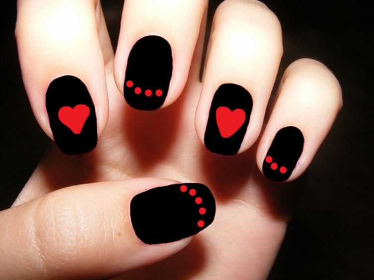 Black Matte Nails With Red Dots And Heart Design Nail Art - 50 Very Beautiful Red And Black Nail Art Design Ideas