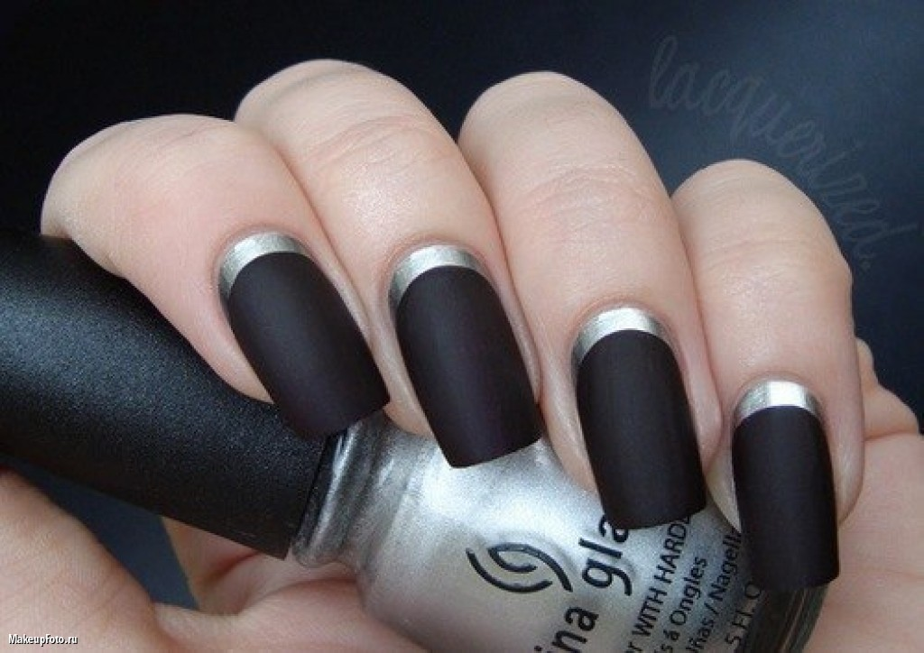 Black Matte Nails With Silver Reverse French Tip Nail Art