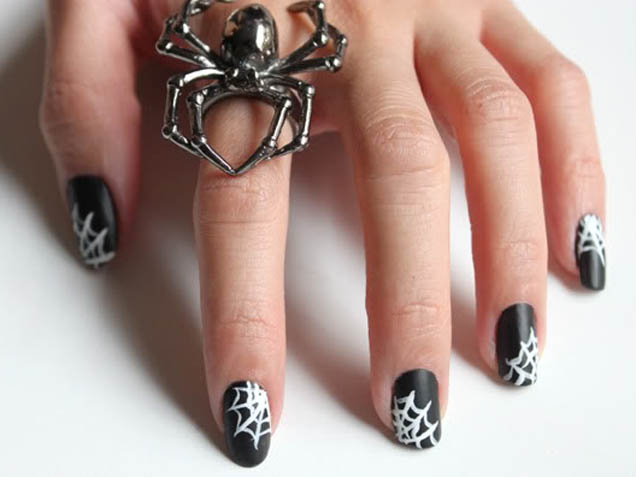 50 most beautiful spider web halloween nail art designs black matte nails with white spiderweb halloween nail art prinsesfo Images