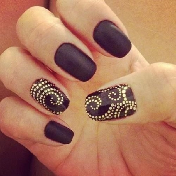 Black Matte Nails With With Golden Polka Dots Design idea - 52+ Cool Black Nail Art Designs For Trendy Girls