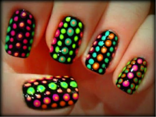 Black Nails With Neon Polka Dots Nail Art - 40 Latest Neon Nail Art Designs