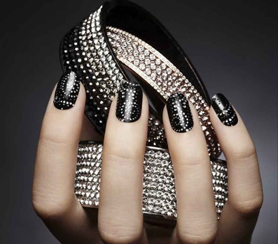 55 latest black nail art design ideas black nails with silver dots nail art design prinsesfo Image collections