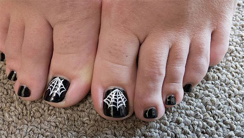 Black Nails With White Spider Web Halloween Toe Nail Art - 25+ Best Halloween Toe Nail Art Designs