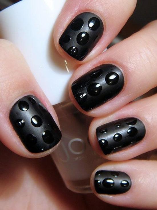 Black polka dots nail art design idea prinsesfo Choice Image