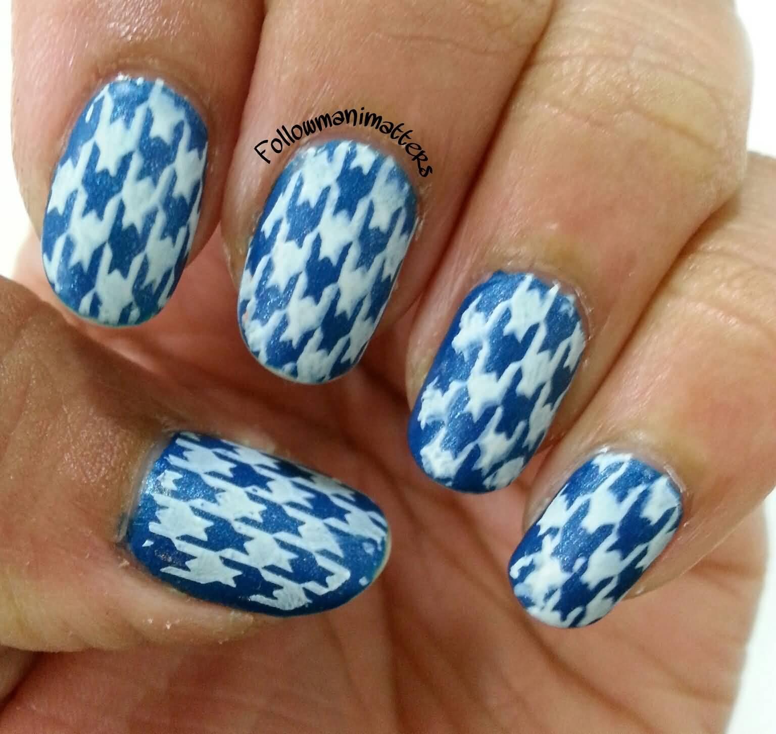 46 Latest Houndstooth Nail Art Design Ideas