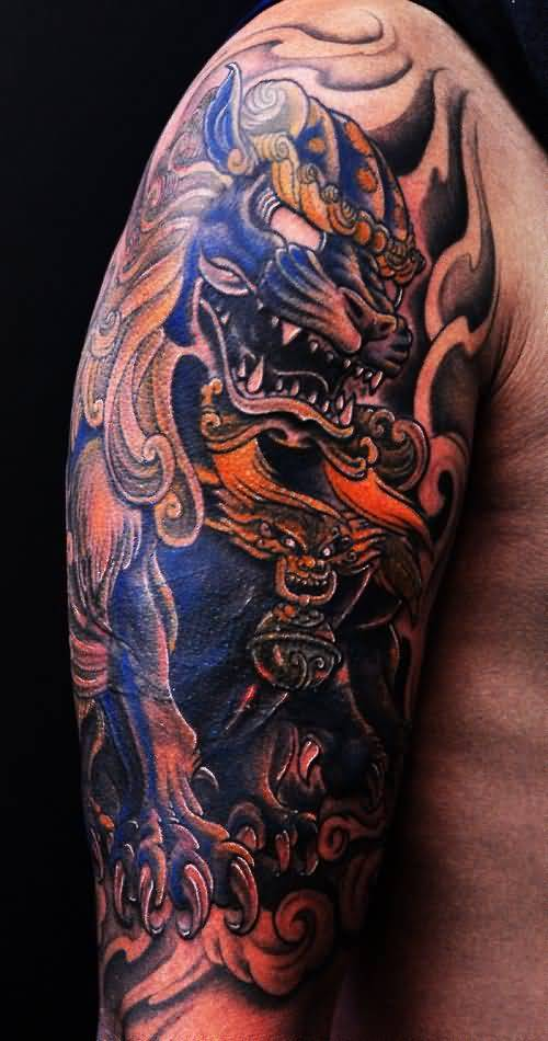 foo dog tattoo half sleeve. Black Bedroom Furniture Sets. Home Design Ideas