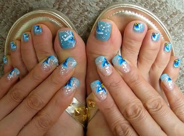 Blue Glitter Toe Nails With Flowers Nail Art For Wedding