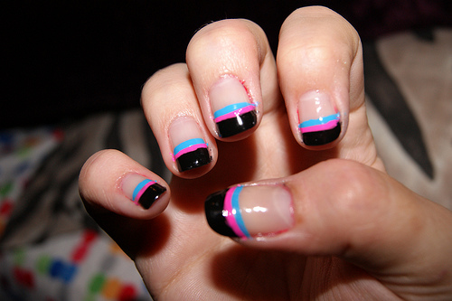 Black And Pink French Tip Nails 45 Cool Black French T...