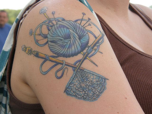 Knitting Needle Tattoo : Amazing craft tattoos