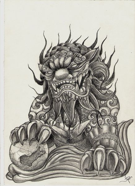 Brilliant Grey Color Angry Foo Dog Tattoo Design