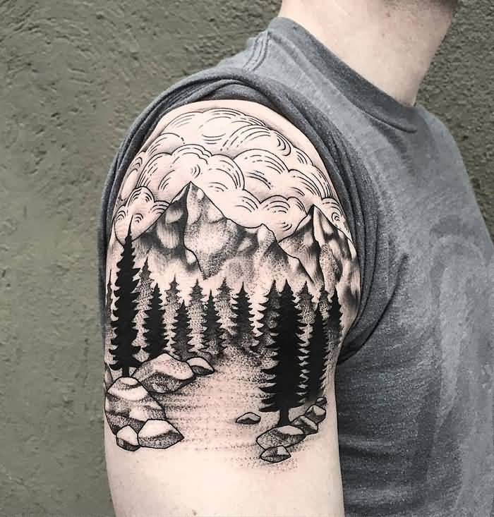 f6ae50f59 Brilliant Mountains With Pine Trees Tattoo On Right Shoulder