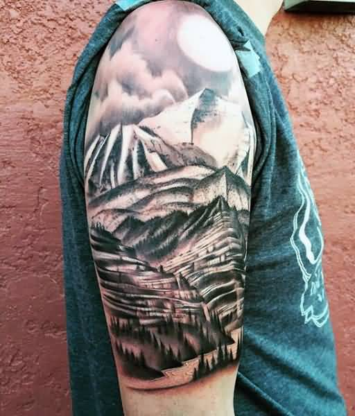brilliant mountains with sun tattoo on half sleeve. Black Bedroom Furniture Sets. Home Design Ideas