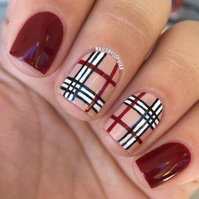 Brown Stripes Burberry Nail Art