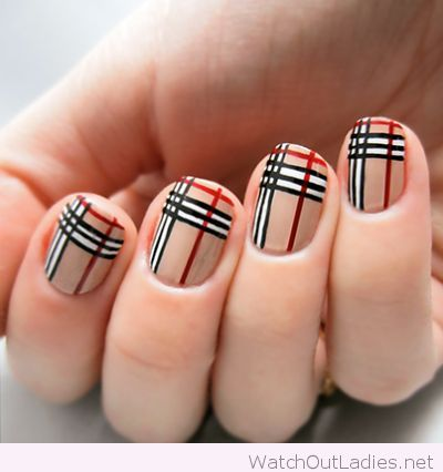 Burberry Nail Art For Short Nails