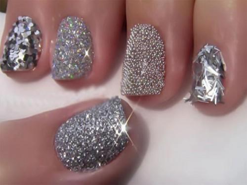 caviar beads and glitter wedding nail art