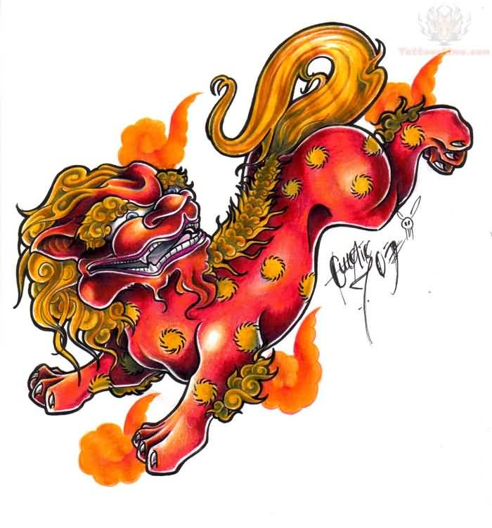Colored Foo Dog Tattoo Design
