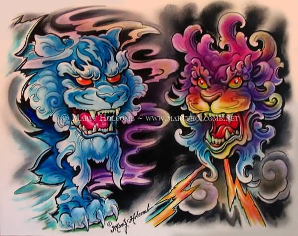 Colorful Angry Foo Dogs Tattoo Design