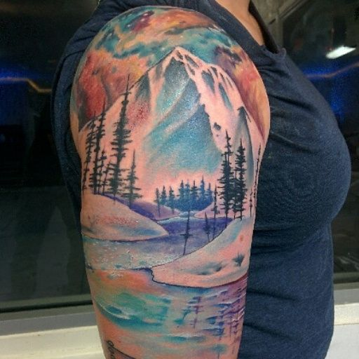50 nice sleeve mountain tattoos ForMountain Tattoo Sleeve