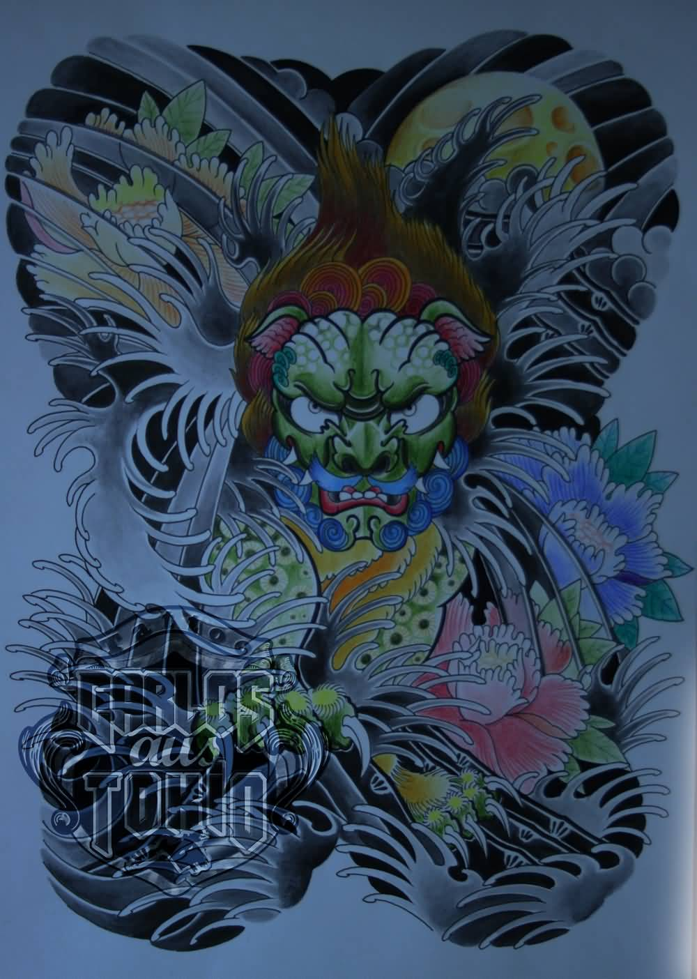 Colorful Japanese Foo Dog Tattoo Design