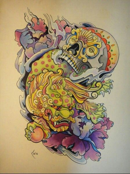 Colorful Japanese Foo Dog With Skull Tattoo Design