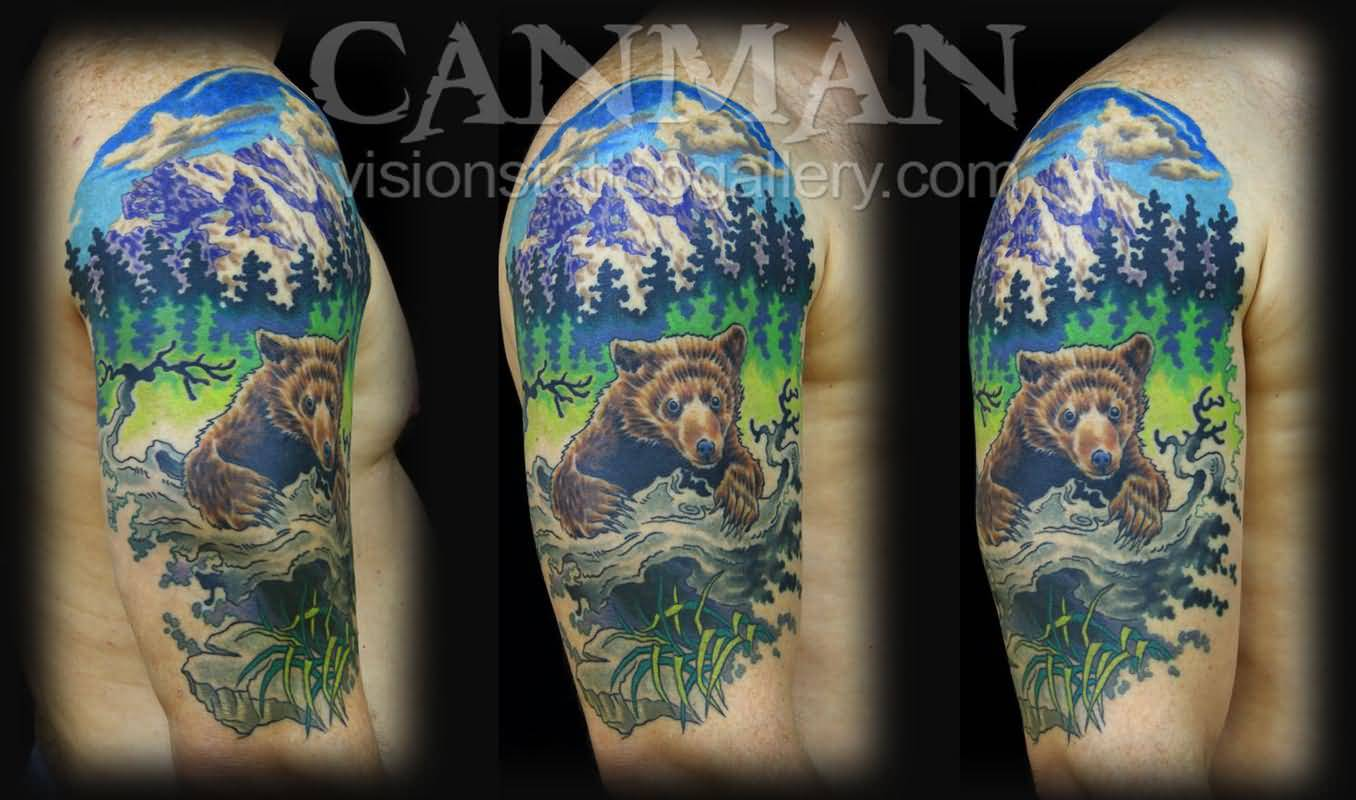 27 mountain tattoos on shoulder for Mountain tattoo sleeve