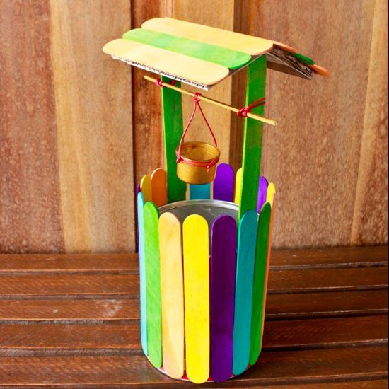Colorful Mini Wishing Well Made From Icecream Sticks