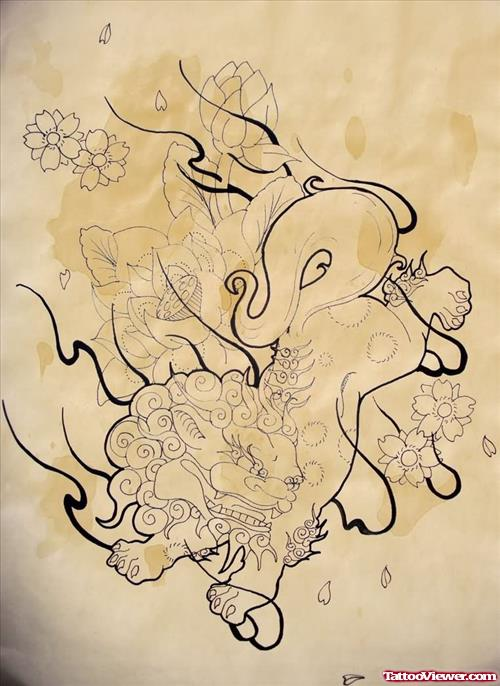 Colorless Foo Dog With Flowers Tattoo Design