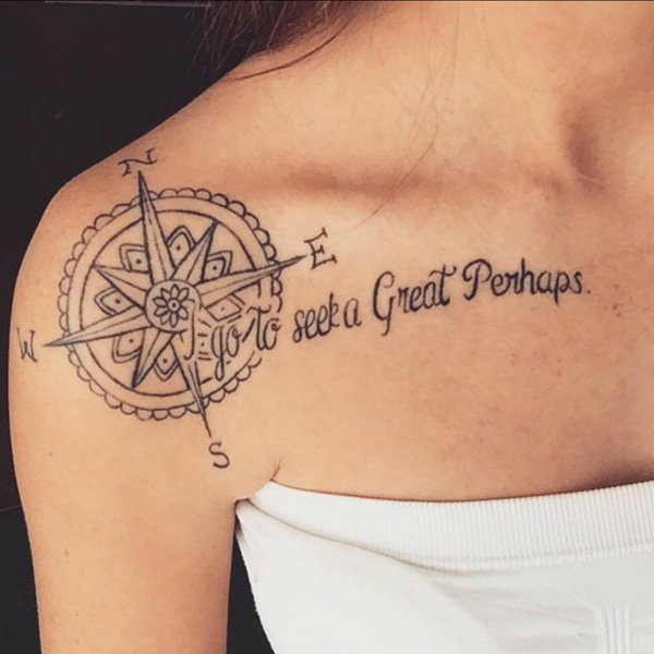 Compass And Seek A Great Perhaps Clavicle Tattoo On Right Shoulder