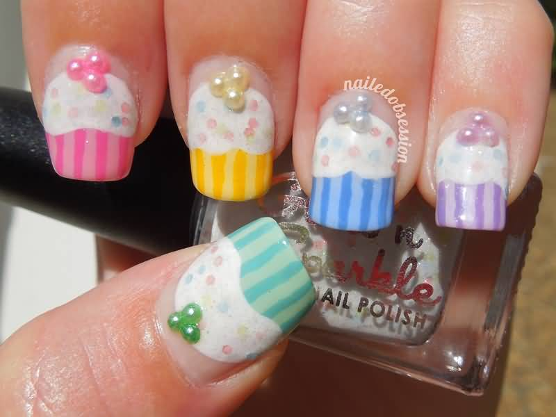 Cupcake Nail Art Design : Black Nails With Pearls And Jewellery Design Japanese Nail Art