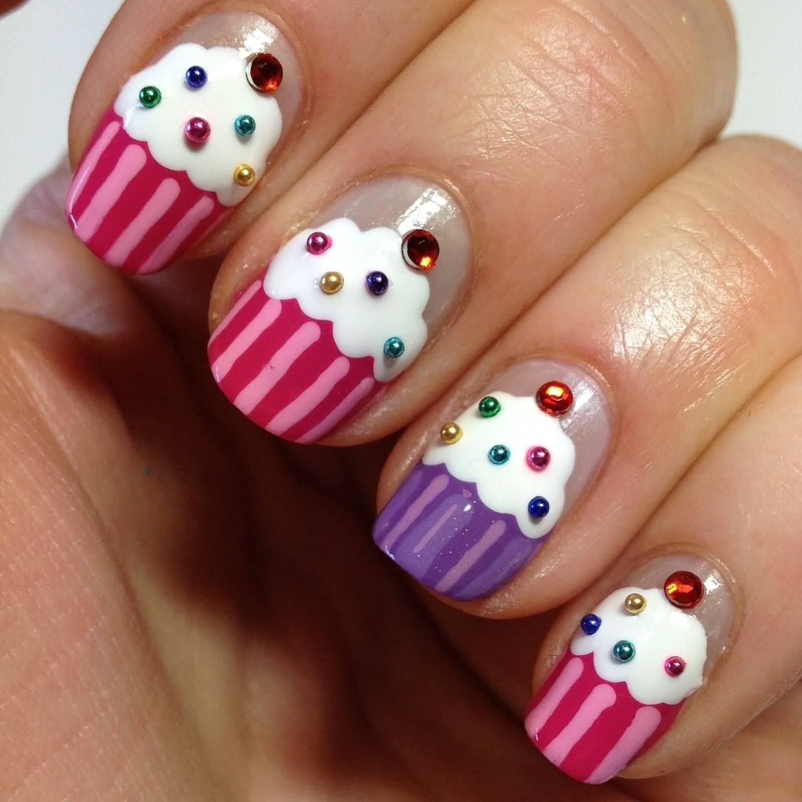 Cupcake Nail Art With Rhinestones Design