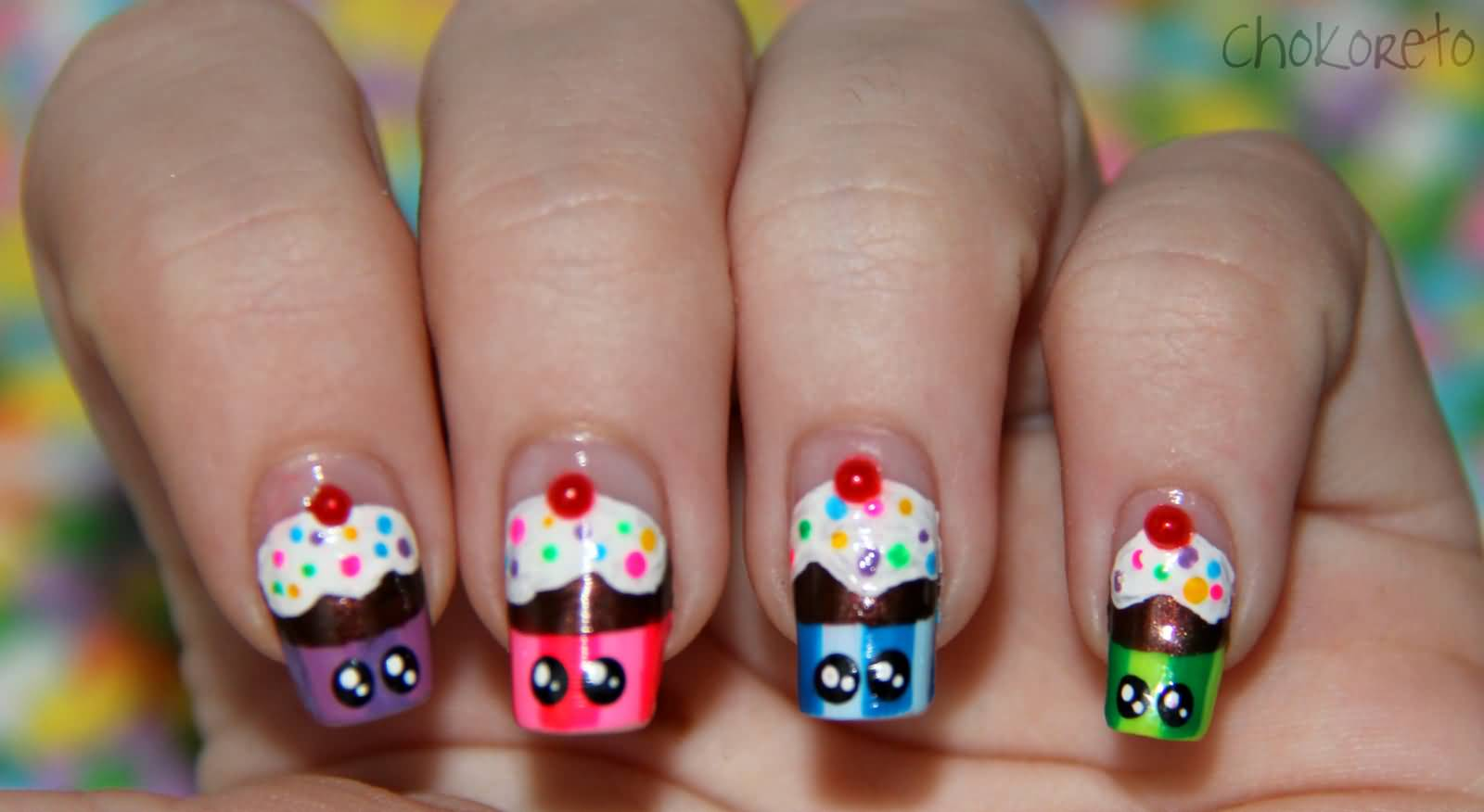 35 cute cupcake nail art design ideas for trendy girls cupcakes with polka dots eyes nail art prinsesfo Gallery
