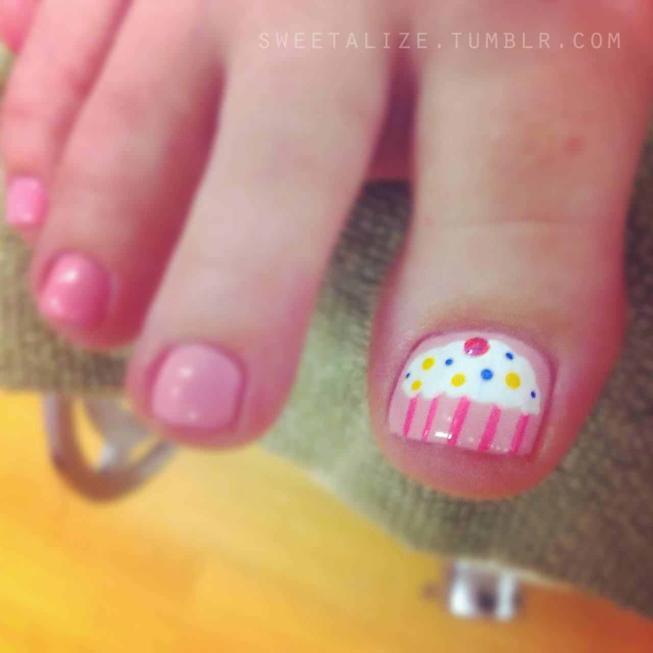 8 Cute Cupcake Nail Art Design For Toe Nails