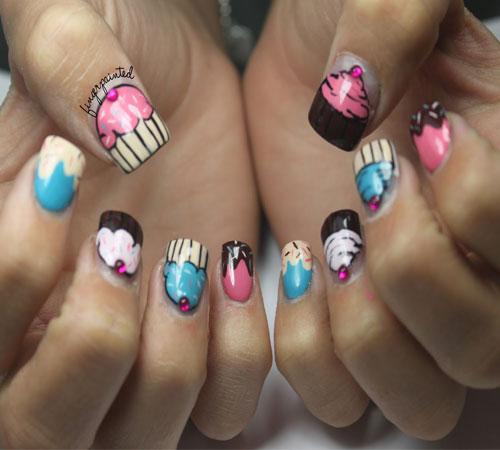 Cute cupcake nail art with rhinestones prinsesfo Gallery