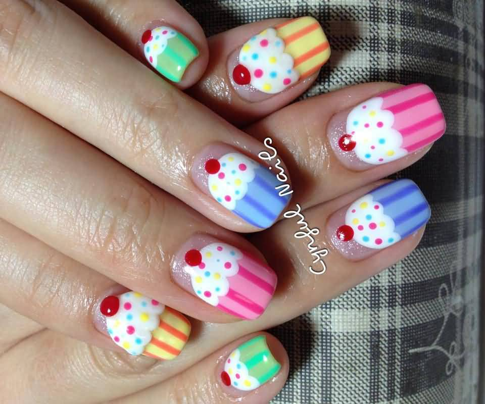 Cute Cupcake Nail Art - 51 Wonderful Cupcake Nail Art Design Ideas For Girls
