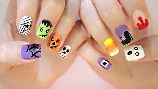 - Cute Halloween Nail Art Design