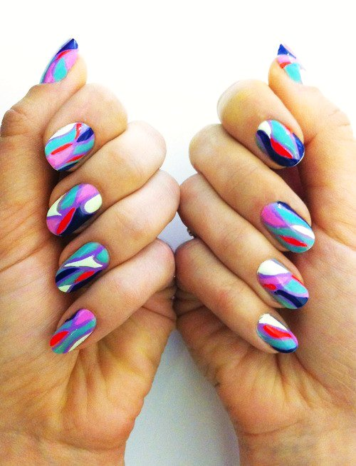 - Cute Multicolor Nail Art Design Idea
