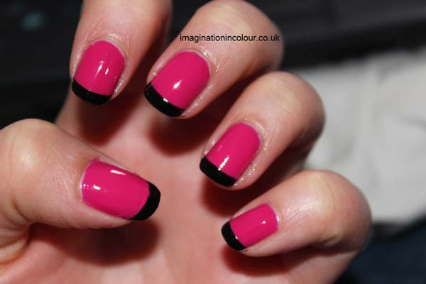 45 cool black french tip nail art designs for trendy girls cute pink nails with black tip nail art prinsesfo Images