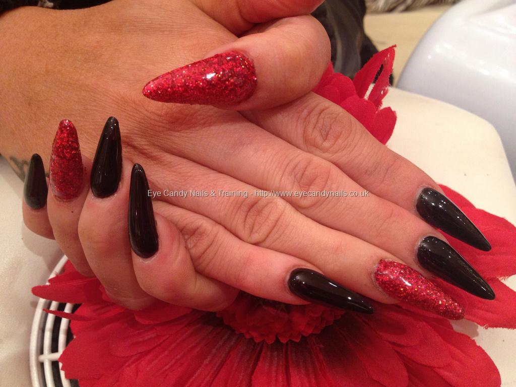 Cute Red And Black Stiletto Long Nails Art