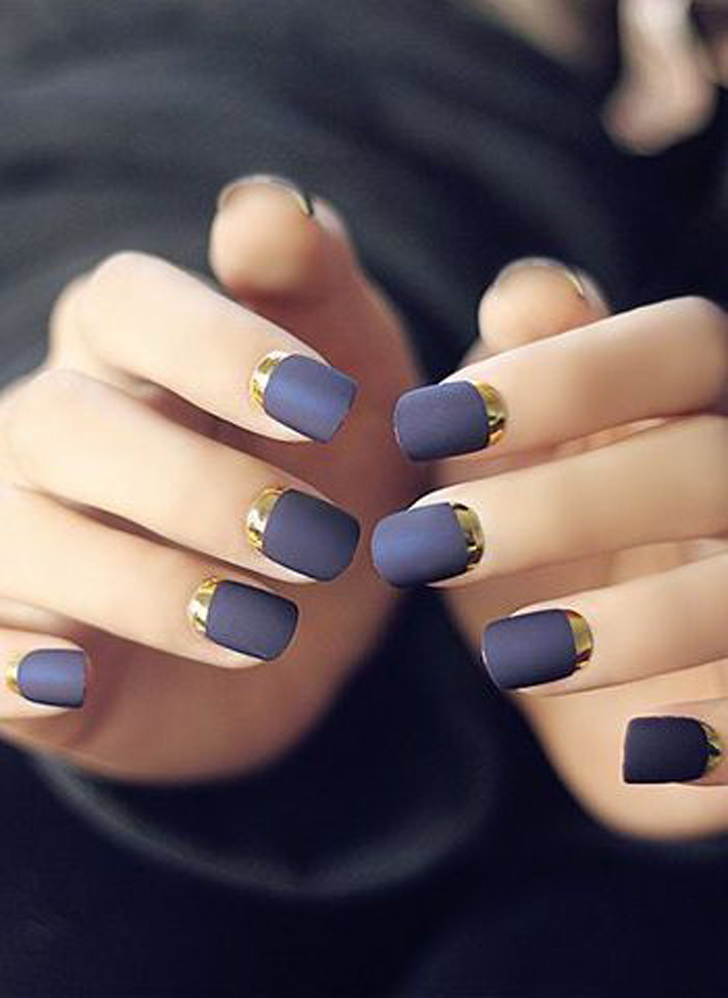 Dark Grey Nails With Gold Reverse French Tip Nail Art