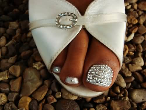 Elegant Rhinestones Design Wedding Toe Nail Art By Christaneka