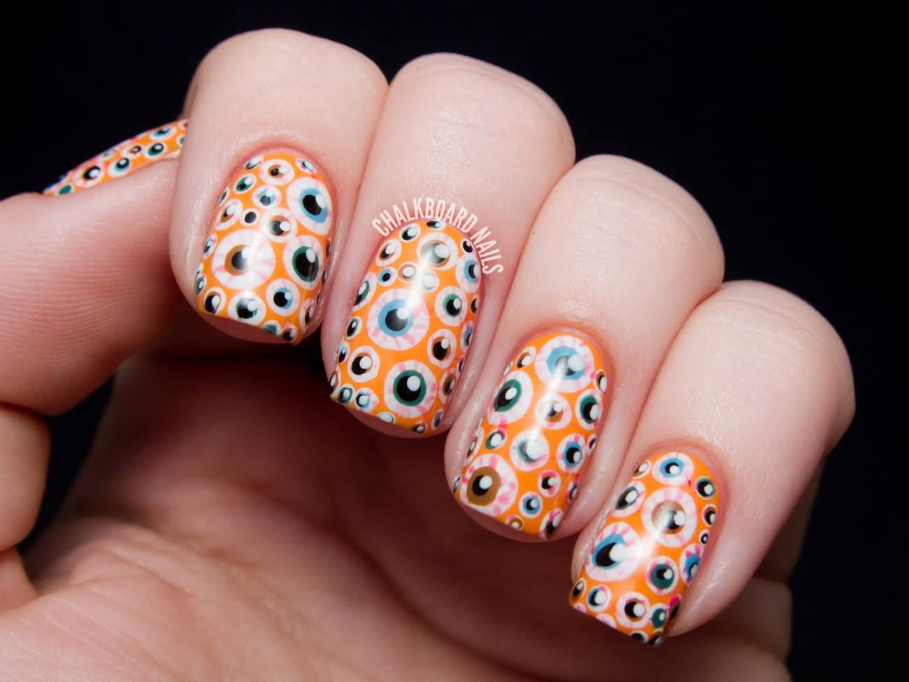 Eyeballs halloween nail art design prinsesfo Images