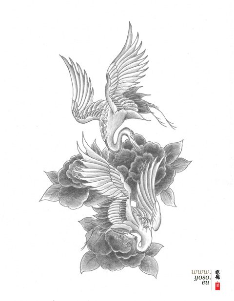 Flowers And Flying Crane Tattoo Design